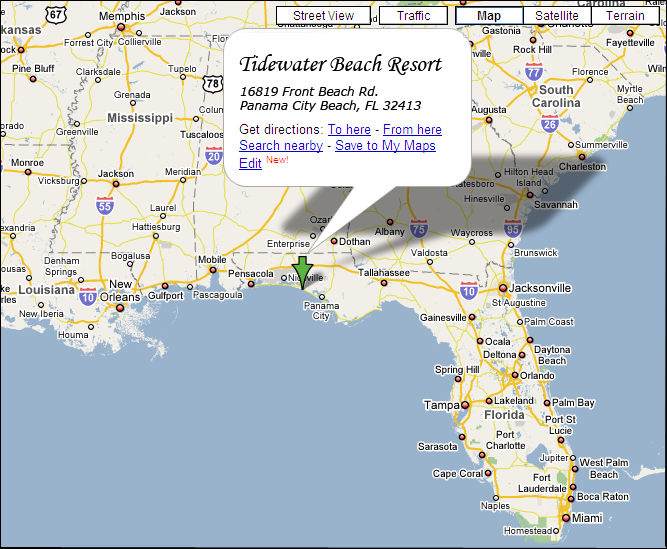 panama city and destin florida map